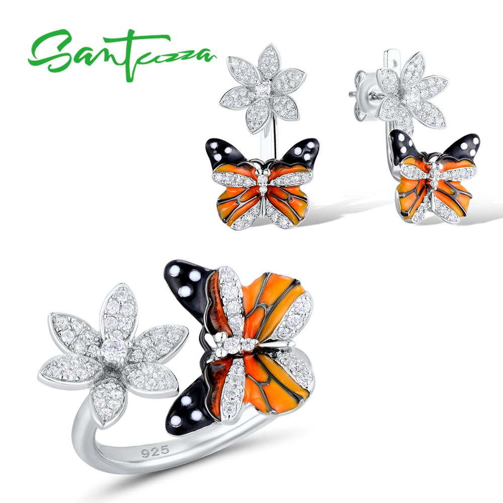 Santuzza Jewelry Set HANDMADE Colorful Enamel Butterfly CZ Stone Ring Earrings 925 Sterling Silver Women Fashion Jewelry Set 8mm handmade custom tailor 3 stone cz stone titanium ring men fashion jewelry full size 5 15