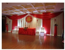 Fashion Hot red Wedding Backdrops with Swag Drapery Curtain of Wedding Background decoration