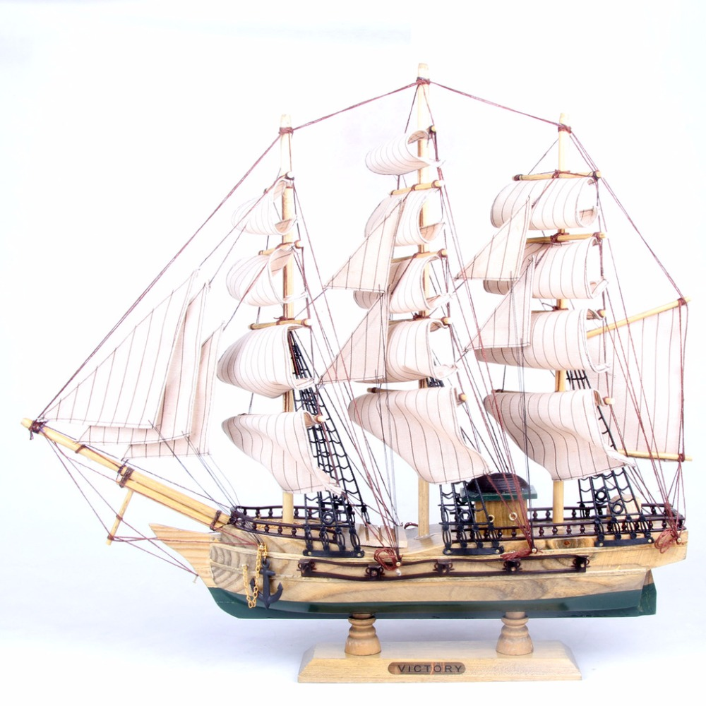 50cm Wood Sailing Boat Model Gift Antique Yacht Ornament Handicraft  Artificial Sailboat Craft Christmas New Year