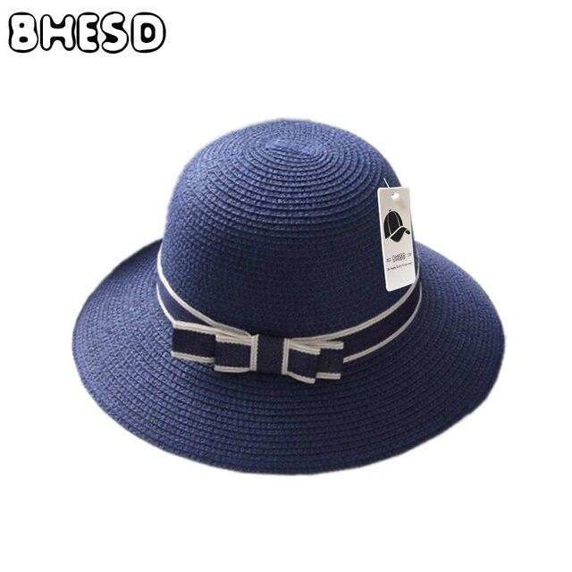 Bhesd 2017 Nuevo 52 cm Sol arco sombrero niños sombrero de paja para los  niños vacaciones 87b77e15d5b