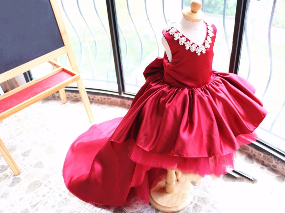 V-neck Long Tail wine red crystals rhinestones Flower Girl Dress Toddler Pageant performing dancing gown baby Birthday outfit