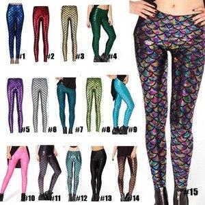 Image 1 - Pantalones de moda para mujer, Leggings con estampado Digital, sirena pez escamas, LXH