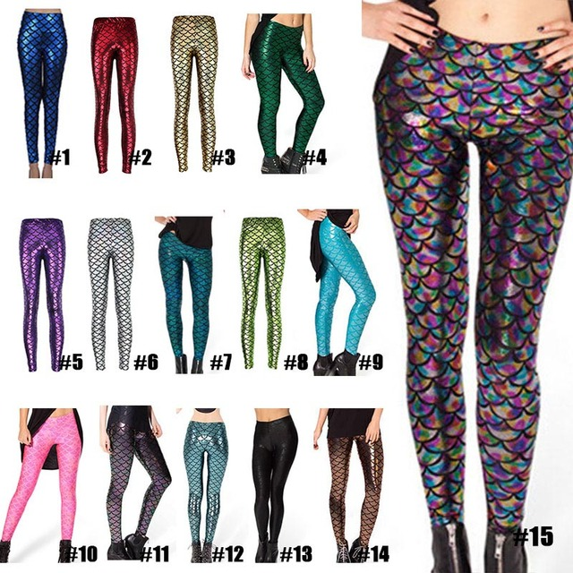 Pantalones de moda para mujer, Leggings con estampado Digital, sirena pez escamas, LXH