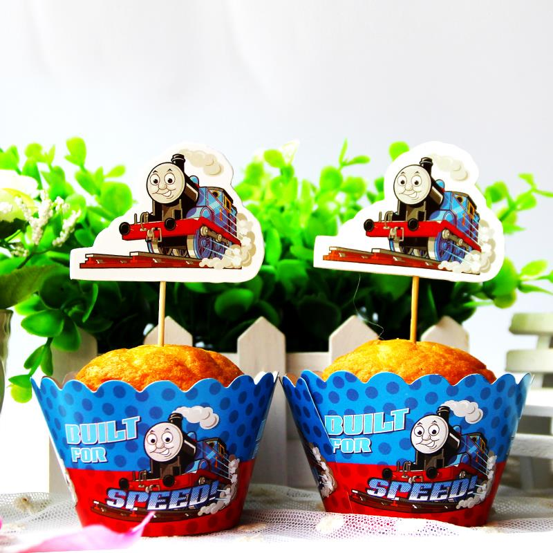 set of 24pcs cartoon train paper cake cup train people cupcake wrapper and topper wedding birthday - Dekoration Tren