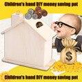 ¡ Caliente! niños bebé hecho a mano baipi diy base de monedas de madera chalet house piggy bank ahorrar dinero arte decoración juguete de colección adorno nueva