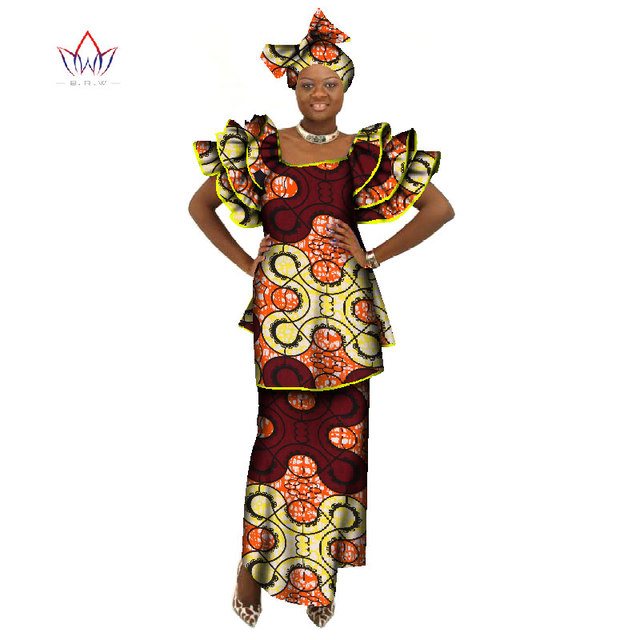 2018 new fashion african clothes butterfly sleeve skirt set african clothes traditional bazin African Women's Party Sets  WY071
