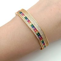 rainbow bangle bracelet Golden Color cubic zirconia fashion lady jewelry