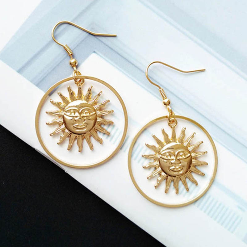 2019 Handmade Gold Sun Apollo Helios Drop Earrings Geometric Loop Sun Face Dangle Earrings For Women Korean Fashion Jewelry