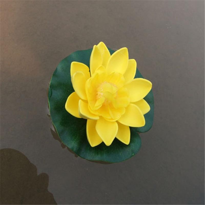 1Pc Diameter 10cm Aquarium Fish Tank Artificial Flowers Floating Lotus Ornament Pond Swim Pool Water Lotus Decor P0.21