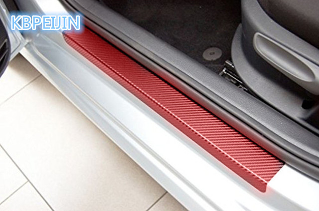 4pcs Car Door Sill Pedal Threshold Carbon Fiber Protect Stickers For