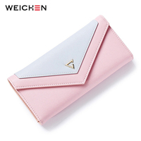 WEICHEN New Geometric Envelope Clutch Wallet For Women PU Leather Hasp Fashion Design Wallet For Phone
