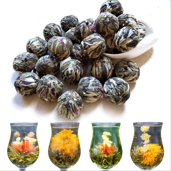 Organic Mix Blooming Tea Balls/Flowering Tea Balls, Artisanal Display Tea, White Tea+Jasmine/Globe Amaranth/Osmanthus/Lily+ More(China)