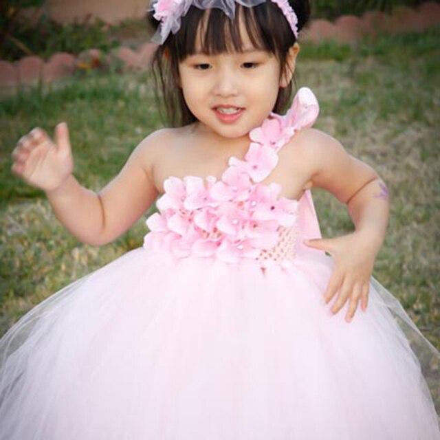 8 vestidos con tutú para niña de flores de Color púrpura, blanco, rosa, vestido de boda para niñas, accesorios para fotos de cumpleaños, tamaño 2T-10Y PT08