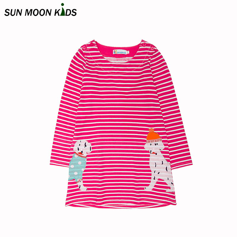 где купить  Sun Moon Kids Girls dress stripe 0-6Years summer dress for girl cotton sarafan full length baby girls clothes children costumes  по лучшей цене