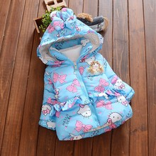 BibiCola Newborn outerwear winter butterfly print hooded baby girls cotton-padded coats warm thick jacket infant blue clothes(China)