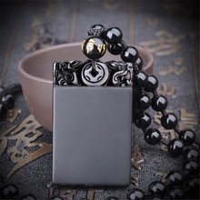5pcs/lot Obsidian Agates Pendant Lucky Nothing Without Words Women Mens Amulet Jades Jewelry Pendants+Beads Necklace