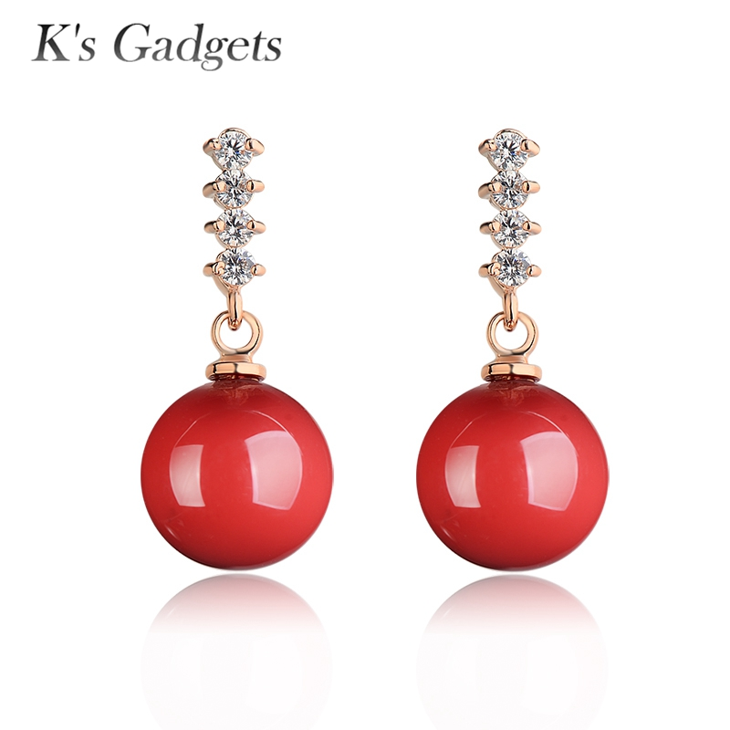 Natural Red Artificial Coral Earrings Brincos 2017 Jewerly Rose Gold color Earring Rhinestone Big Drop Earrings for Women