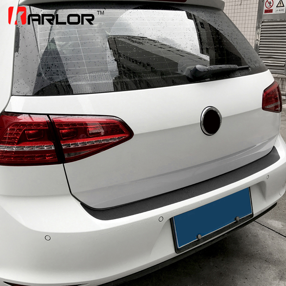 Auto Rear Bumper Trunk Tail Lip Carbon Fiber Protection Stickers Decal Car Styling For Volkswagen VW Golf MK7 7 GTI Accessory 2 5m car rubber carbon stickers for skoda fabia octavia front lip bumper decoration for vw auto exterior stickers for toyota