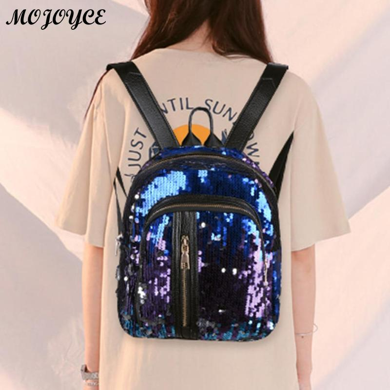 2pcs/1pc New Sequins Backpack New Teenage Girls Fashion Bling Rucksack Students School Bag With Pencil Case Clutch Mochilas #5
