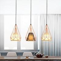 Modern simplicity restaurant light industrial wind diamond lamp personality bar, rose gold lamp, iron chandelier.