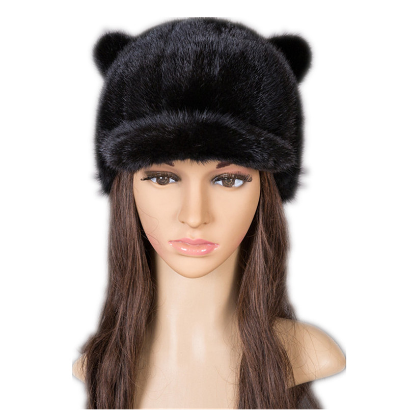 Real mink fur baseball caps with ears rabbit style warm full pelt black red gray brown winter autumn fashion fur hats H124
