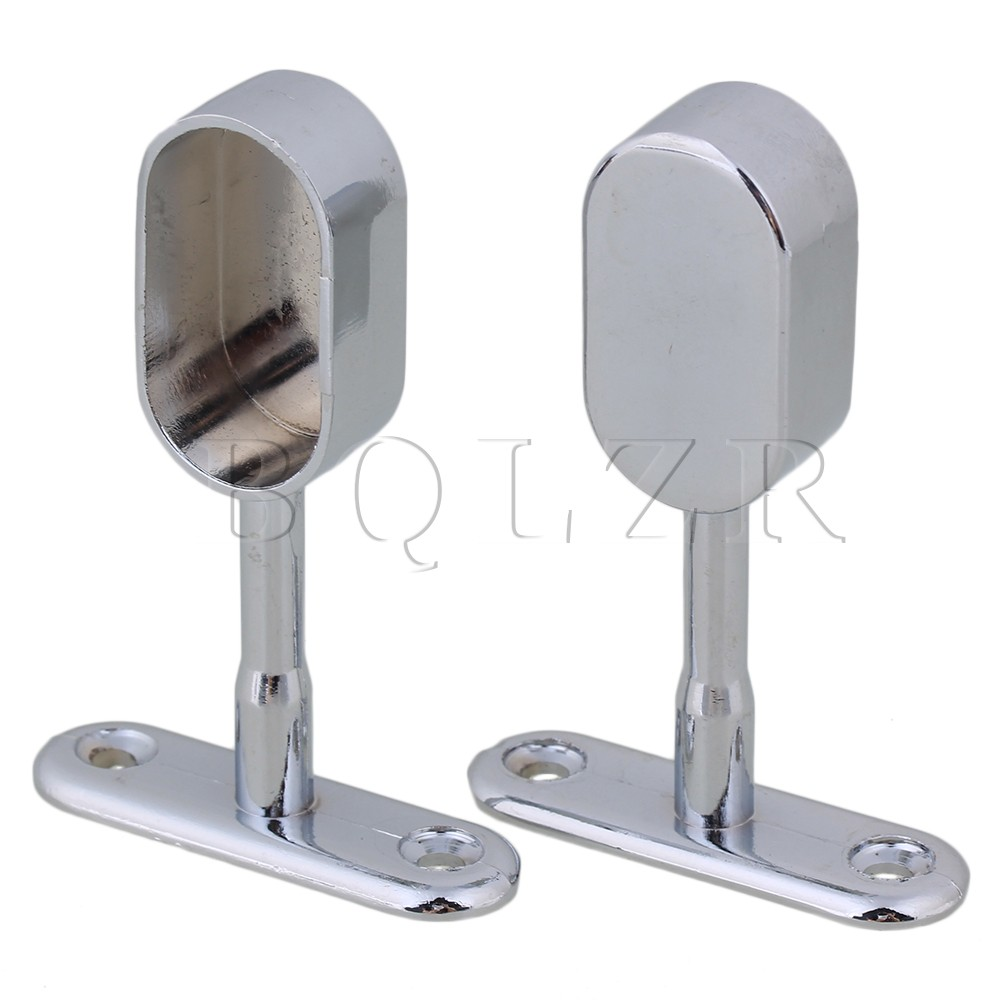 BQLZR 16mm Zinc Alloy Oval Closet Rod Middle Support Hanging Seat