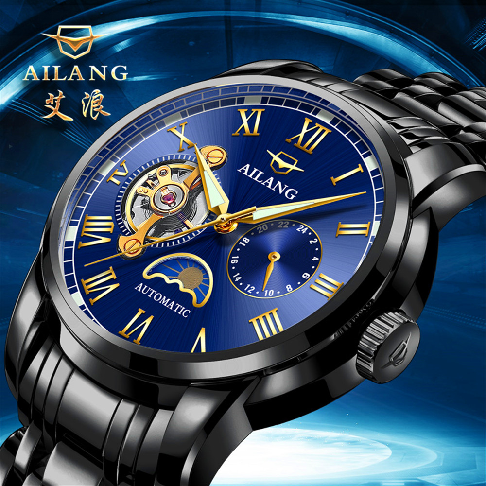 AILANG Automatic Mechanical Watch Men Moon Phase Luminous Black Stainless Steel Waterproof Mens Watches Top Brand Luxury 2018 2016 hot sale top brand ailang luxury men watches casual fashion waterproof stainless steel wristwatches mechanical watch
