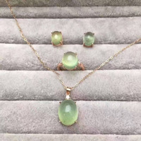 Натуральный Зеленый Пренит Gem Jewelry комплекты природных драгоценных камней кольцо кулон Серьги 925 Серебристый Большой Круглый Женщины Fine