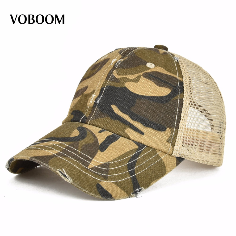 VOBOOM Summer Men Women Baseball Cap Washed Cotton Adjustable Mesh Trucker Hat 020 mens vintage beret hat sailing embroidery washed cotton paper boy cap