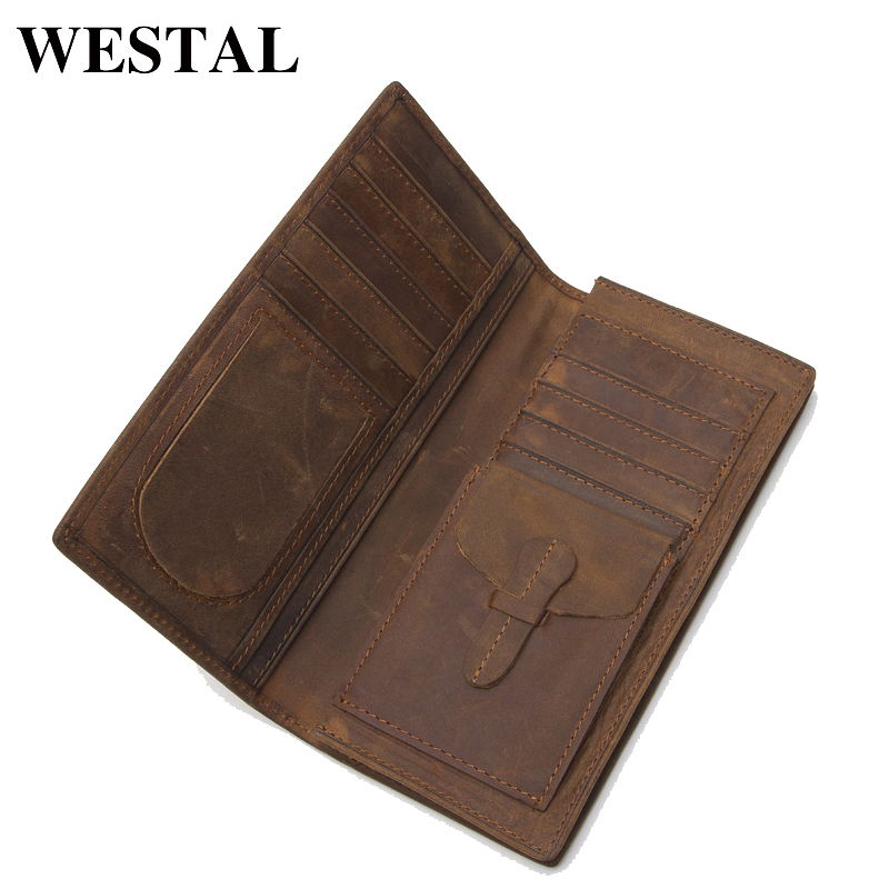WESTAL Vintage Genuine Leather Men Wallets Crazy Horse Leather Men Wallet Long Standard Coin Purse Male Clutch Casual 8011 crazy horse leather men wallet slim vintage genuine leather long purse cowhide bifold wallets with coin pocket and card holders