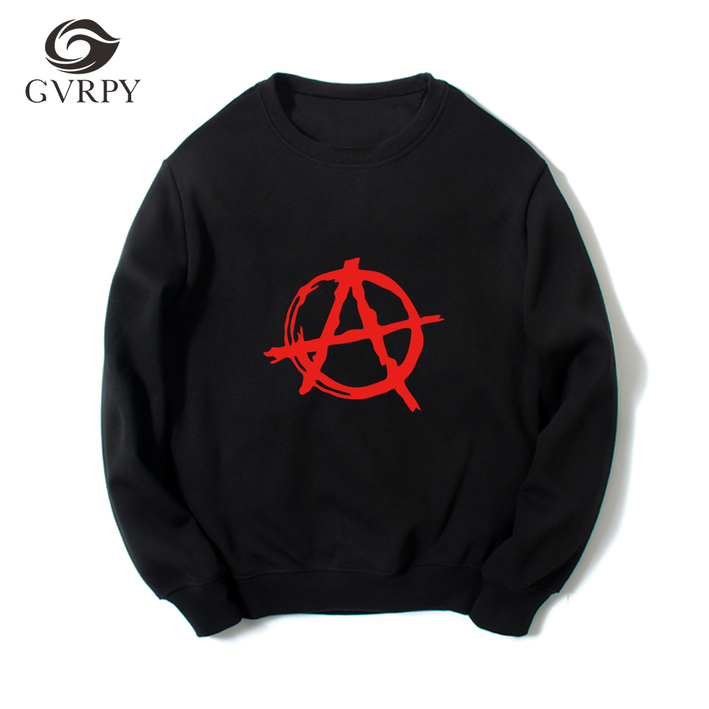 Casual Loose Sweatshirts Men Brand Anarchy Symbol Prints Hoodies Punk Rock Bedlam Evil Anarchist War Sweatshirt Plus Size XS-3XL sweatshirt