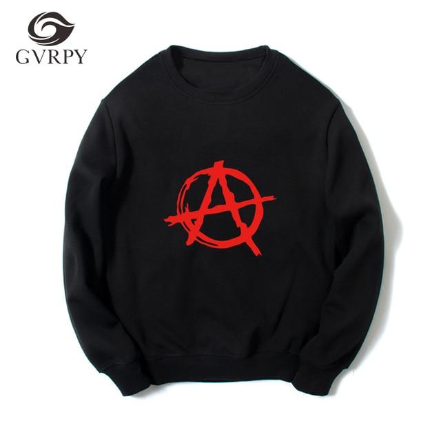 Casual Loose Sweatshirts Men Brand Anarchy Symbol Prints Hoodies