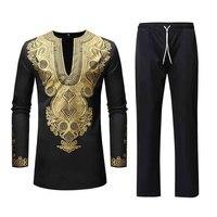 Fashion Men's African Print Dashiki Clothes Summer Autumn Luxury Shirt Suit Men's Sets Camisa De Manga Larga Para Hombre C