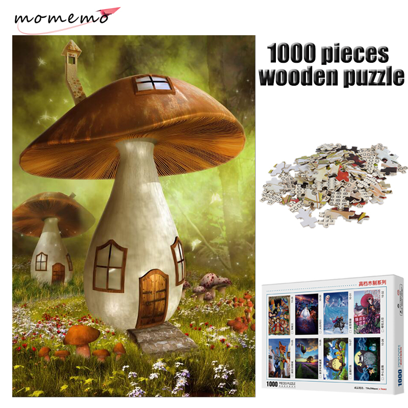 MOMEMO Mushroom House Puzzle Adult 1000 Pieces Wooden Puzzle Jigsaw Puzzles Games Wooden Toys Puzzles for Children Toys Gifts