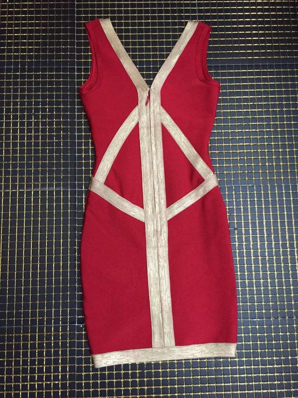 Parti D'été Robes Sexy Manches Haute Cou Femmes Qualité Rayon Sans Bandage V Rouge Robe dxrCQBoWe