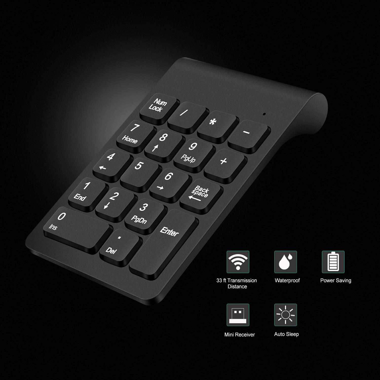 Lefon Wireless Numeric Digital Keyboard Mini 2 4G 18 Keys USB Number Keypad Pad Wireless Mouse For Laptop PC Notebook Desktop in Keyboards from Computer Office