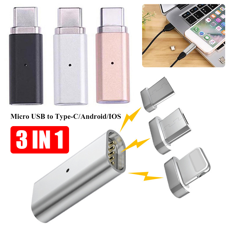 3-in-1 Micro USB Female to Type-C/Android/IOS Male Magnetic Adapter Metal Data Cable Converter Adapter Micro USB To Type C