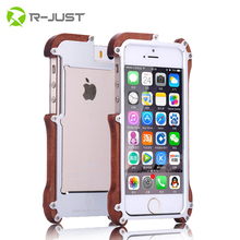 Buy Original R-Just phone cases Shockproof Armor Aluminum Metal + 100% Real Wood Bumper For Apple iPhone 5 5S cellphone accessories