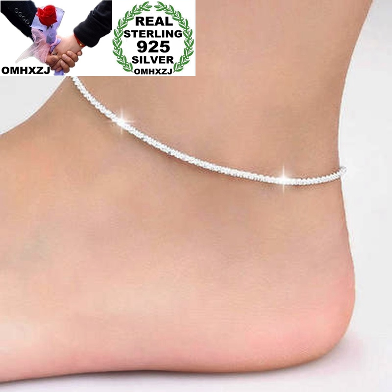 OMHXZJ Wholesale European Fashion Woman Girl Party Birthday Wedding Gift Simple Slim Blank 925 Sterling Silver Chain Anklet JL03
