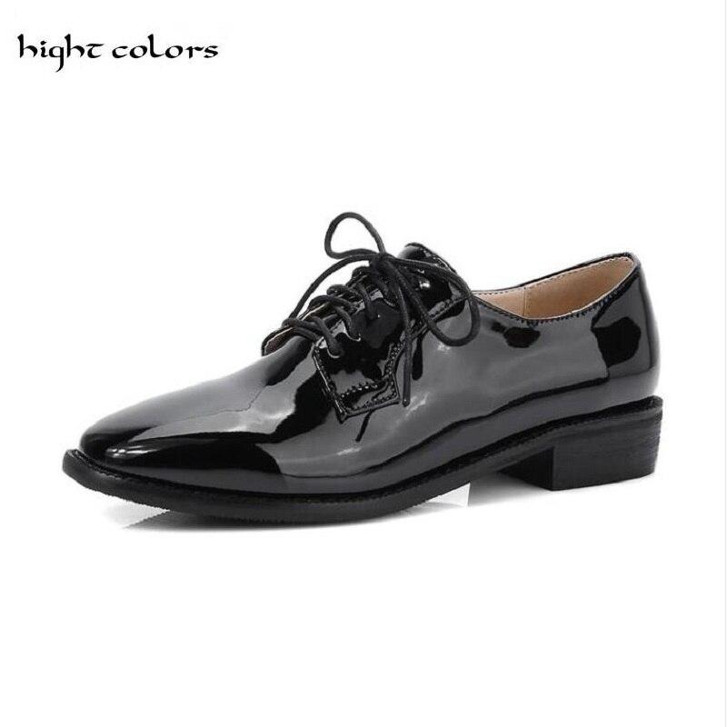 (HIGHT COLORI) GRANDE FORMATO 40 ~ 48 New Casual Blu Oxford Patent Leather Lace Up Punk Brogue scarpe A Punta Delle Donne Della Caviglia Scarpe DXM616
