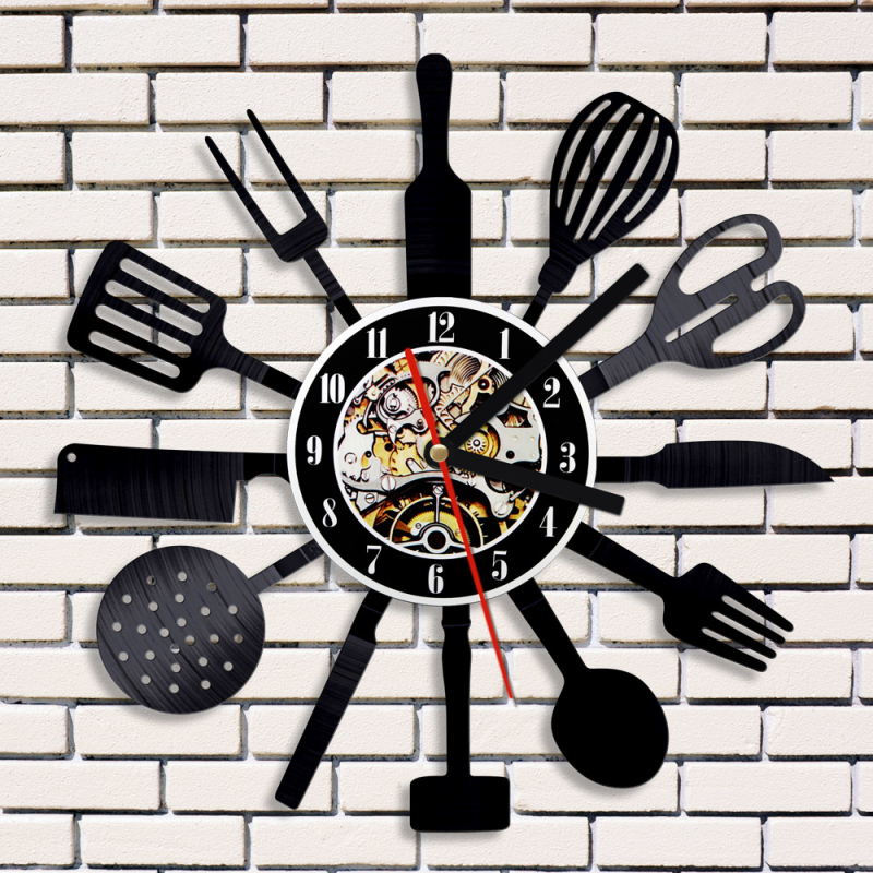 bd1aa1e064e Relógio Disco de Utensílio de Cozinha Colher Garfo Faca Talheres  personalizado 3D Relógio de Parede Arte Da Parede do Vinil Decorativo LEVOU  Relógio em ...
