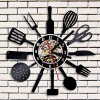 Spersonalizowane Sztućce Naczynie Kuchenne Record Zegar Łyżka Widelec Nóż 3D Zegar Ścienny Vinyl Wall Art Dekoracyjne DOPROWADZIŁY Zegar
