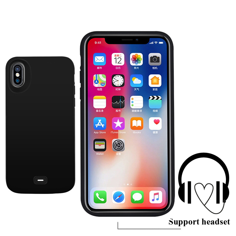 Support wired headset External 5000mAh Power bank Pack backup battery Charger Case For iPhone X Cover Charging Music 2in1