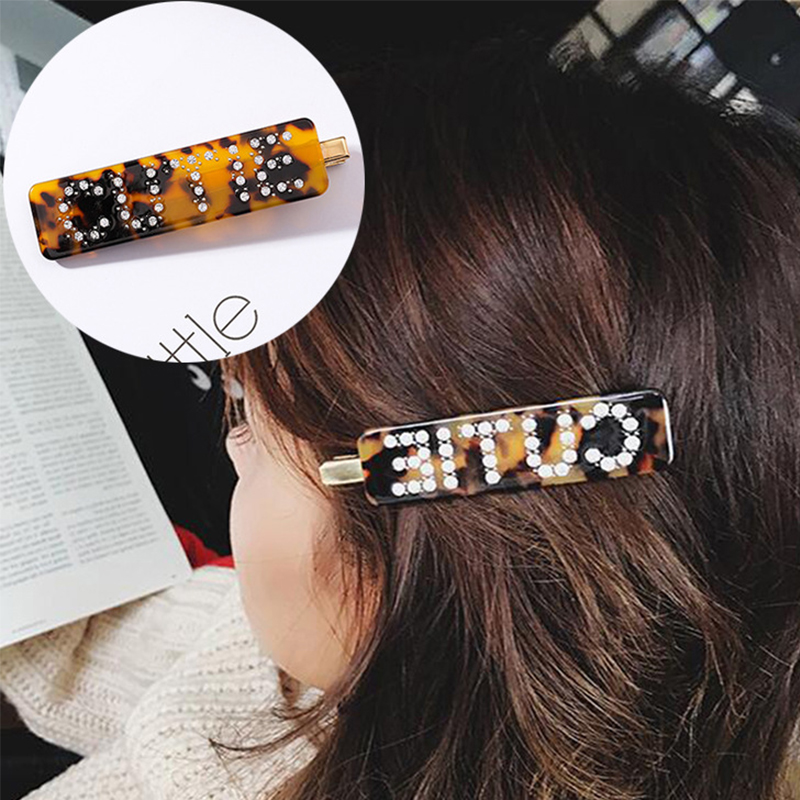 Europe and America Fashion Sexy Acetate Leopard Print Hairpin Rhinestone CUTE Letters Hair Accessories a Word Hair Clip   Headwear