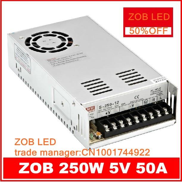 250 Вт S250W 5V 50A светодиодный импульсный источник питания, 5 В 50A, 85 265AC вход, для светодиодной полосы света, мощность suply 5 в Output 2PCS/лот