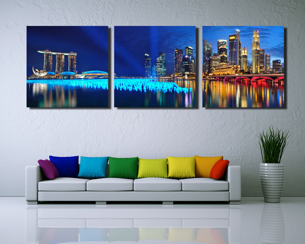 3 Panel Wall Art Enchanting 3 Panel Singapore Night Scene Hd Wall Art Picturetop Rated Canvas Design Decoration
