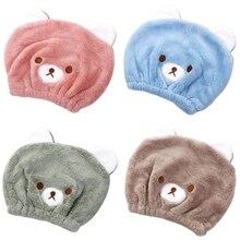 Cute Cartoon Bear Women Hair Dry Cap Towels Quick-drying Shower Hat Velvet Soft