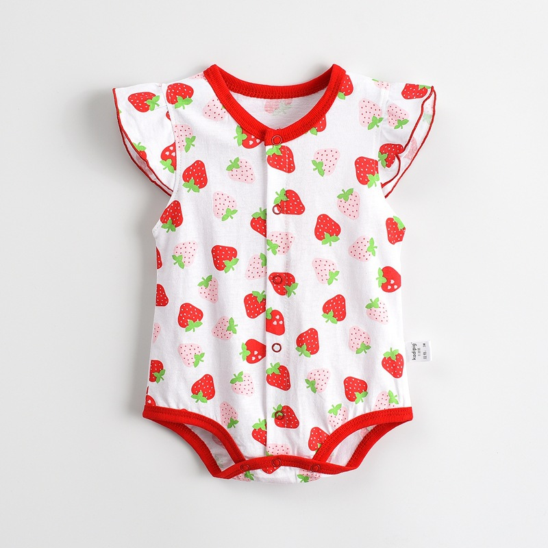 Baby Rompers Hot Summer Nya Baby Girls Kläder Floral Print Casual Stawberry Short-Sleeved Jumpsuit Nyfödda Infant Clothing