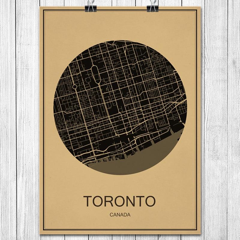 Canada toronto kraft paper vintage poster world city map retro art size42x30cm gumiabroncs Choice Image
