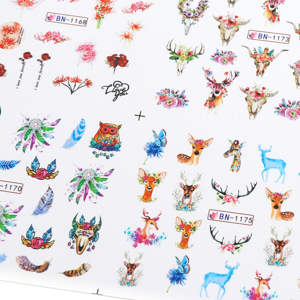 Nail Stickers Cat Flowers Flamingo Animal Water Transfer Decals Tattoo Decoration Foils Wraps Manicure Accessories (3)